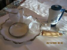 Barbie accessories, cooking dishes, tea cups, plates, coffee pot, pitcher