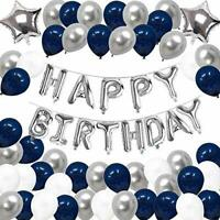 Yoart Birthday Decorations Blue Silver and White Party Balloons for Boys Him Men