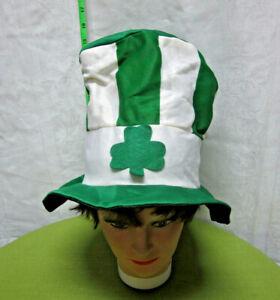 SHAMROCK striped hippy hat Celtic rave Mad Hatter acid cap Irish novelty