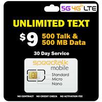 Prepaid GSM SIM Card Kit Unlimited Text + 500 Mins & 500 MB 5G 4G LTE Data