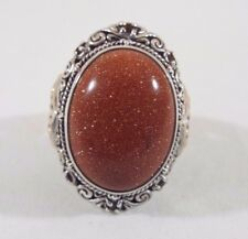 Bali Designs Sterling Silver & 18k Gold Orange Goldstone and Citrine Ring