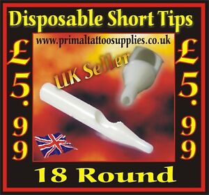 Disposable Short Tips 18 Round - Box of 50  - (Tattoo Needles - Tattoo Supplies)