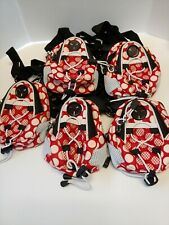 Mini Day Pack Red with Pink Polka Dots and White Trim Mouse Ears