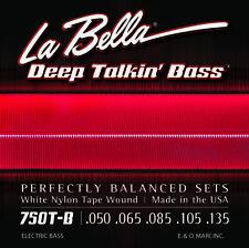LA BELLA 750T-B WHITE NYLON TAPE WOUND BASS STRINGS, LIGHT GAUGE 5's - 50-135