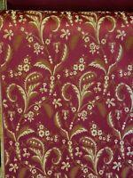 "Designer Brocade Jacquard Fabric- Burgundy - Upholstery Damask fabric 58"""