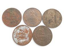 Lot 5 pieces 2 centimes Dupuis France 1911/1914. (AV123)
