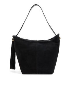 VINCE CAMUTO, Aiko Hobo Bag w/ Tassel, Black Suede/Leather