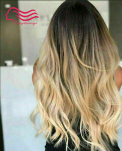 100% Human Hair New Beautiful Long Natural Brown Mix Blonde Wavy Women's Wigs