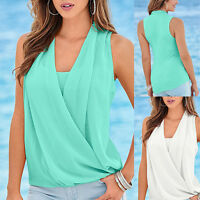 Womens Ladies  Summer Sleeveless Chiffon Vest Blouse T Shirt Top UK 8-16 1006