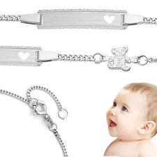 Baby Taufe Herz Armband mit Teddy Bär Echt Silber 925 mit Gravur Namen und Datum