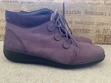 HOTTER «INDULGE» PURPLE SUEDE ANKLE BOOTS SIZE UK 8 STANDARD