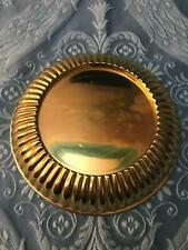 PARTYLITE polished shiny gold brass color pillar candle plate disc holder heavy