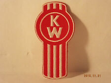 """KENWORTH Trucks 3 1/2"""" Tall Logo Red/White Embroidered Iron-on PATCH"""