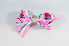 Unit of 10 Medium 3 Inch Pink/Green/Blue Stripe Hair Bow Clips Grosgrain