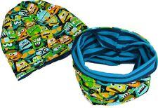 Kinder Beanie Mütze Loop Schal Set Baumwolljersey zum Wenden Grün bunt