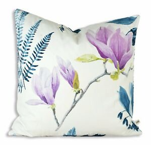 Designers Guild Mokuren Luxury Designer Fabric Blue Pink Cushion Cover