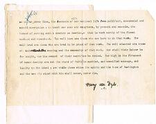 "Henry Van Dyke MANUSCRIPT SIGNED- final paragraphs  ""Americanism of Washington"""