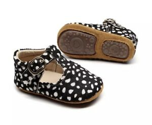Baby Girl Animal Spotty Black And White Shoes 0-6 Months