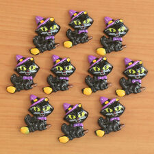 Lot 10pcs Halloween Black Cat Riding a Broom Resin Flatbacks Hair Bow Crafts DIY
