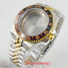 Gold Coated 40mm Watch Case Sapphire Glass  Jubilee Strap Fit MIYOTA Movement