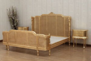 BERGERE COLUMN BED WITH RATTAN FRENCH ANTIQUE GOLD IN MAHOGANY,FREE DEL