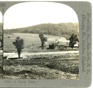 A VALLEY FARM OF NEW ENGLAND--Keystone Stereoview Geography #383G