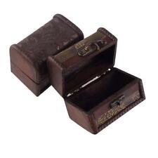 2015 Vintage Mini Metal Lock Jewelry Treasure Chest Case Handmade Wooden Box FT