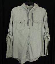 INC Men's Heather Grey Roll-tab Hooded Button Down Shirt XL Retail $69