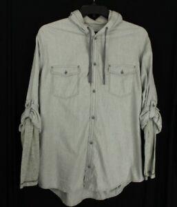 INC International Men's Grey Roll-tab Hooded Button Down Shirt XL Retail