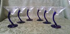6 - Libbey Bravura Cobalt Blue Curved Stem Martini Glasses Crooked Wiggle Neck