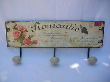 SHABBY ROMANTIC ROSES WALL PLAQUE WITH HOOKS