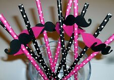 Handcrafted Mustache and Lips Straws, Gender Reveal,Bachelorette, Baby (923S)