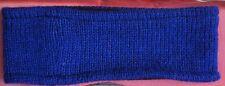 Hand Crocheted 100% Wool w/ Fleece Lining Headband Adult Size ROYAL BLUE