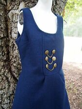 Classic Tulle Navy Blue Jumper Dress Womens Medium Sleeveless With Pockets Wool