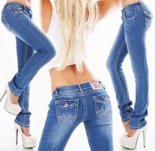Damen Stretch Flap Poket Jeans XXL Kontrastnähte 34 36 38 40 42 smart washed