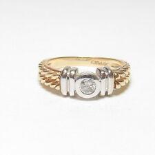 Estate 14K Yellow And White Gold 0.20 Ct Brilliant Cut Diamond Solitaire Ring