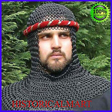 Round Ring Butted Chainmail Coif - Hooded Knights Armor Forged Steel Helmet