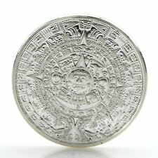 Silver Plated Mayan Aztec Calendar Souvenir Commemorative Coin Collection Gifts