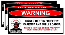 "x3 Owner Armed Warning Sticker 2nd Amendment Decal Gun Firearm 6"" Inches Long"