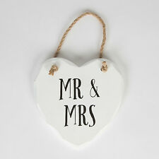 "Sass & Belle Retro Wooden White ""Mr & Mrs"" Hanging Heart Plaque/Sign 13x13cm"