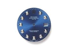 Rolex Men's Date 34mm S-S Cobalt Blue color Diamond Dials