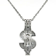 """K753 Silver USA dollar sign Pearl Cage Locket Pendant Necklace 18"""" Charms"""