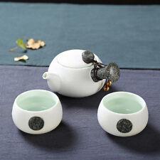 Ceramica cinese Gongfu Tè lato maniglia Teiera e Tazze Mini set da viaggio 3 pcs