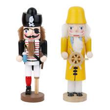 2 PCS Nutcracker Helmsman & Pirate Wooden Puppet Crafts Christmas Decor Gift