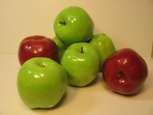 """VINTAGE 7, HAND MADE DECORATIVE CERAMIC APPLES. ABOUT 3 1/2"""". RED AND GREEN"""