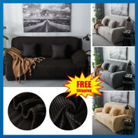 Easy Fit 1/2/3 Seater Sofa Slipcover Protector Couch Cover Thick Plush Velvet