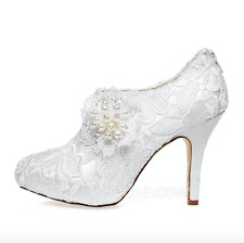 Size 8/39 Womens Satin Stiletto Heel Closed Toe Pumps Wedding Bridal Bride Shoes