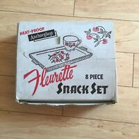 Vintage Fleurette 8 Piece Snack Set With Original Display Ad Box