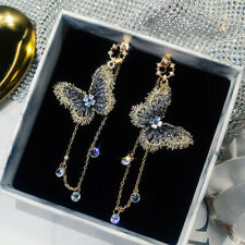 Fashion Embroidery Blue Butterfly Crystal Long Tassel Drop Earrings Jewelry Gift