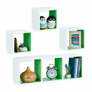 Set of 4 Horizontal Vertical Floating Wall Cube Shelve Decorative Stacking Unit